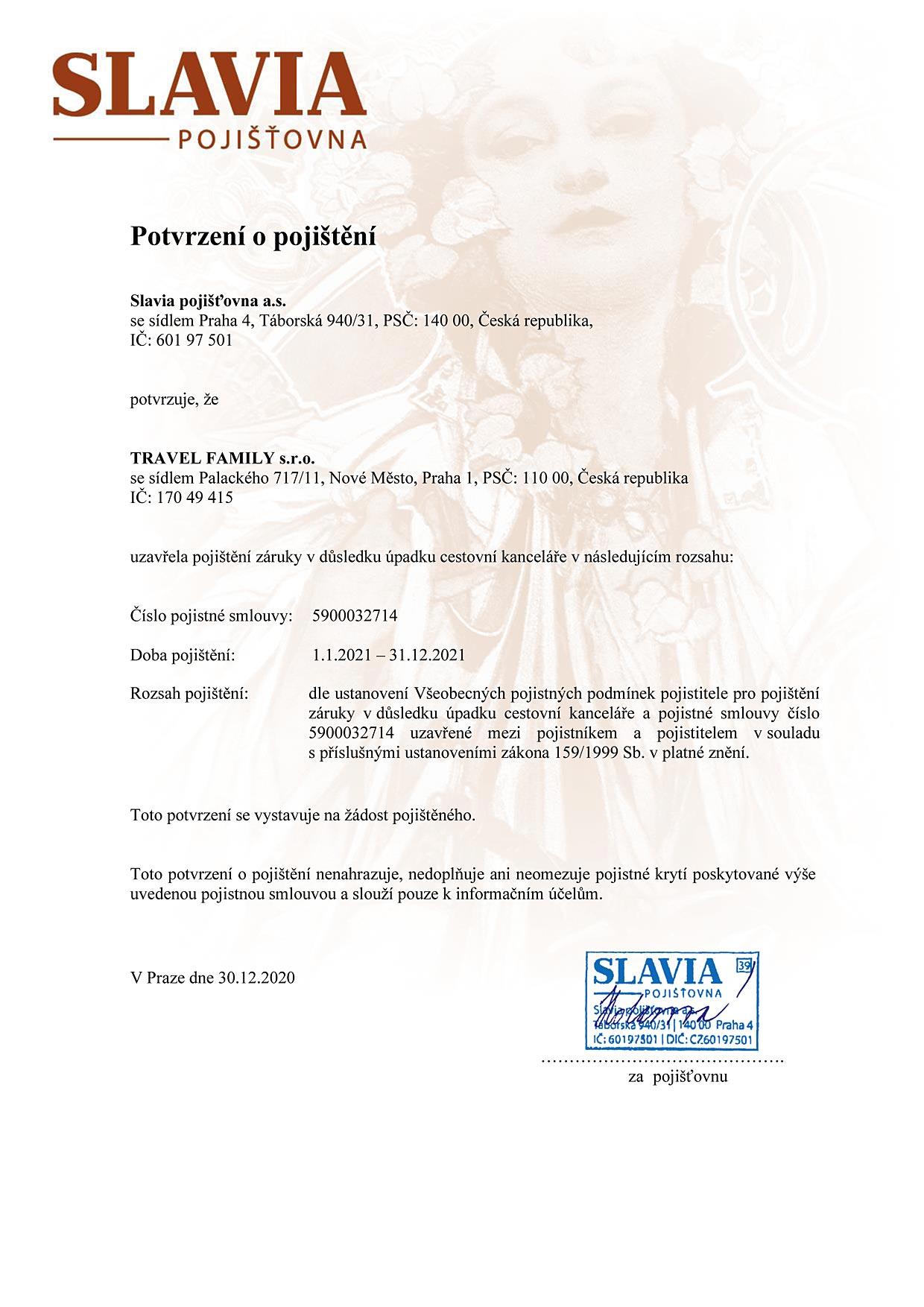 certifikát pojištění proti úpadku 2021